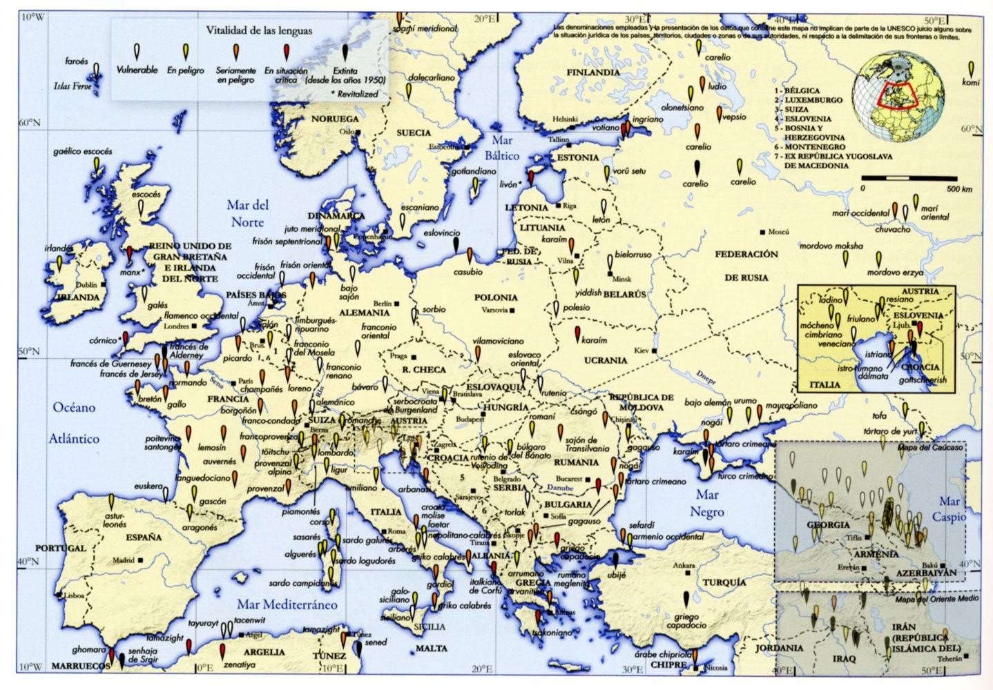 Mapa de las lenguas en peligro de Europa. Del Atlas de las lenguas del mundo en peligro, 2ª edición, París, UNESCO, 2010. p.25